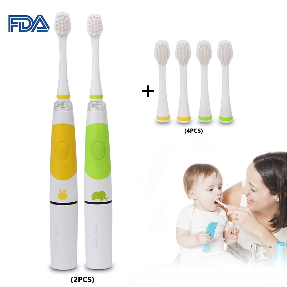 2PCS Kids Sonic Electric Toothbrush Children Sonic Toothbrush Sonic Baby Toothbrush Smart Toddler Toothbrush with 4 Replaceable Head Battery Operated Infant Toothbrush for Kid 2-10 (Green + Yellow)