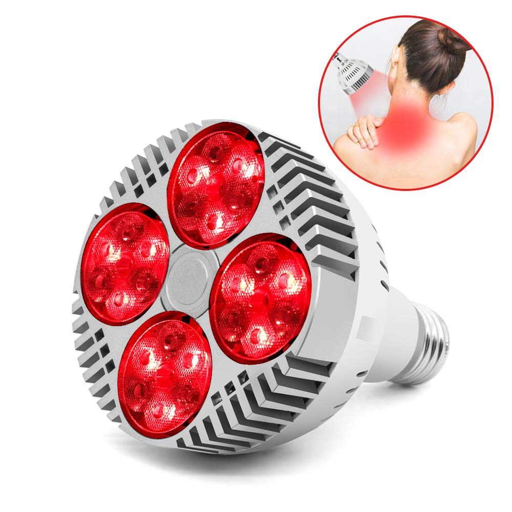 48W Red Light Therapy Bulb, 660nm and Near Infrared 850nm Led Infrared Light Heat Lamp for Massage Body Therapy Neck Pain Muscle Pain Relief Increased Blood Circulation by PDGROW