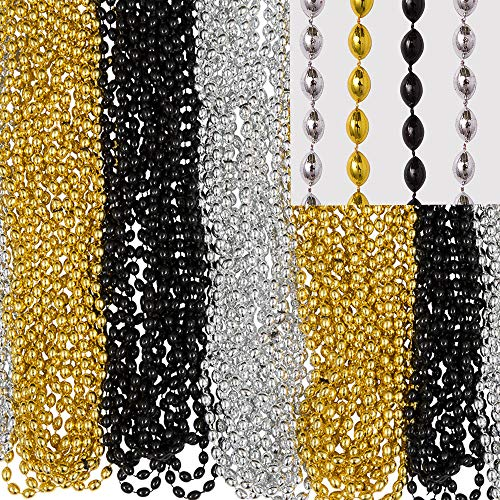 Amscan Bead Necklace, Party Accessory,  Black, Silver, Gold]()