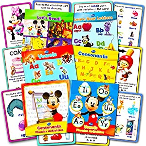 Disney Learning Phonics Box Set -- 4 Learn to Read Books, 2 Learn to Write Activity Books, 24 Jumbo Flash Cards (Disney Educational Toys)