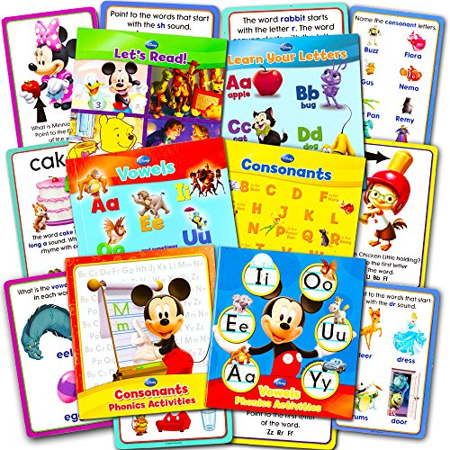 Disney Educational Disney Learning Phonics Box Set -- 4 Learn to Read Books, 2 Writing Activity Books, 24 Jumbo Flash Cards Toys