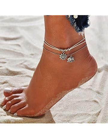 Fußkette Stahl Golden Mit Anhänger Herz Kreuz
