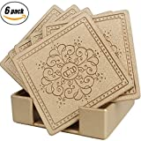 Drinks Coasters,Faux Leather with Pattern Absorbent Coasters Set of 6 with Holder by Happydavid (gold square)