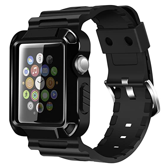 buy online 5e7d0 07fbe iiteeology Compatible with Apple Watch Band 42mm, Rugged Protective iWatch  Case and Band Strap with Built-in Screen Protector for Apple Watch Series  ...