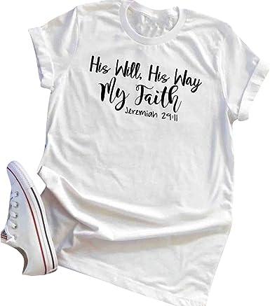 Su voluntad Su Camino Mi fe Camisetas Mujer Algodón Manga Corta ...