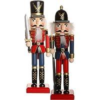 IPOTCH 2 Adet Geleneksel Ahşap Ceviz Kıracağı, Festival Süslü Noel Dekoru, 25,4 cm Uzunluğunda Raflar ve Masalar için…