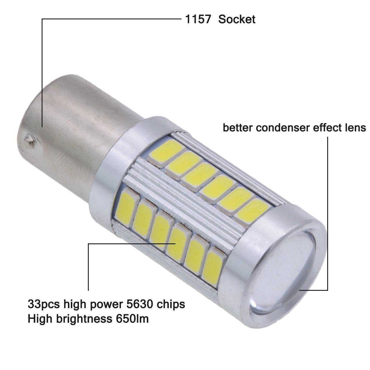 TUINCYN 1157 BAY15D LED Bulb Red Brake Light Bulb Super Bright 5630 33SMD 1016 1034 7528 2057 Tail Light Back Up Reverse Light Turn Signals Light Parking Light DC 12V Pack of 4