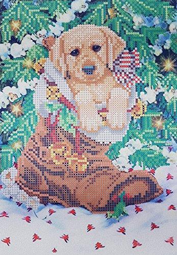 (Christmas Puppy Bead Embroidery Needlepoint kit Dog Xmas Holiday DIY Gift idea Winter Beaded Stitching Noël Weihnachten Navidad Perle)