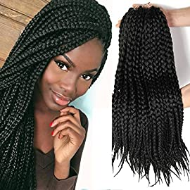 18 inch Crotchet Box Braids Crotchet Braids Senegalese Expression Braiding Hair Hairstyles Havana Mambo box braids hair extension (6 packs) (18 inch 6packs, 27/613)……