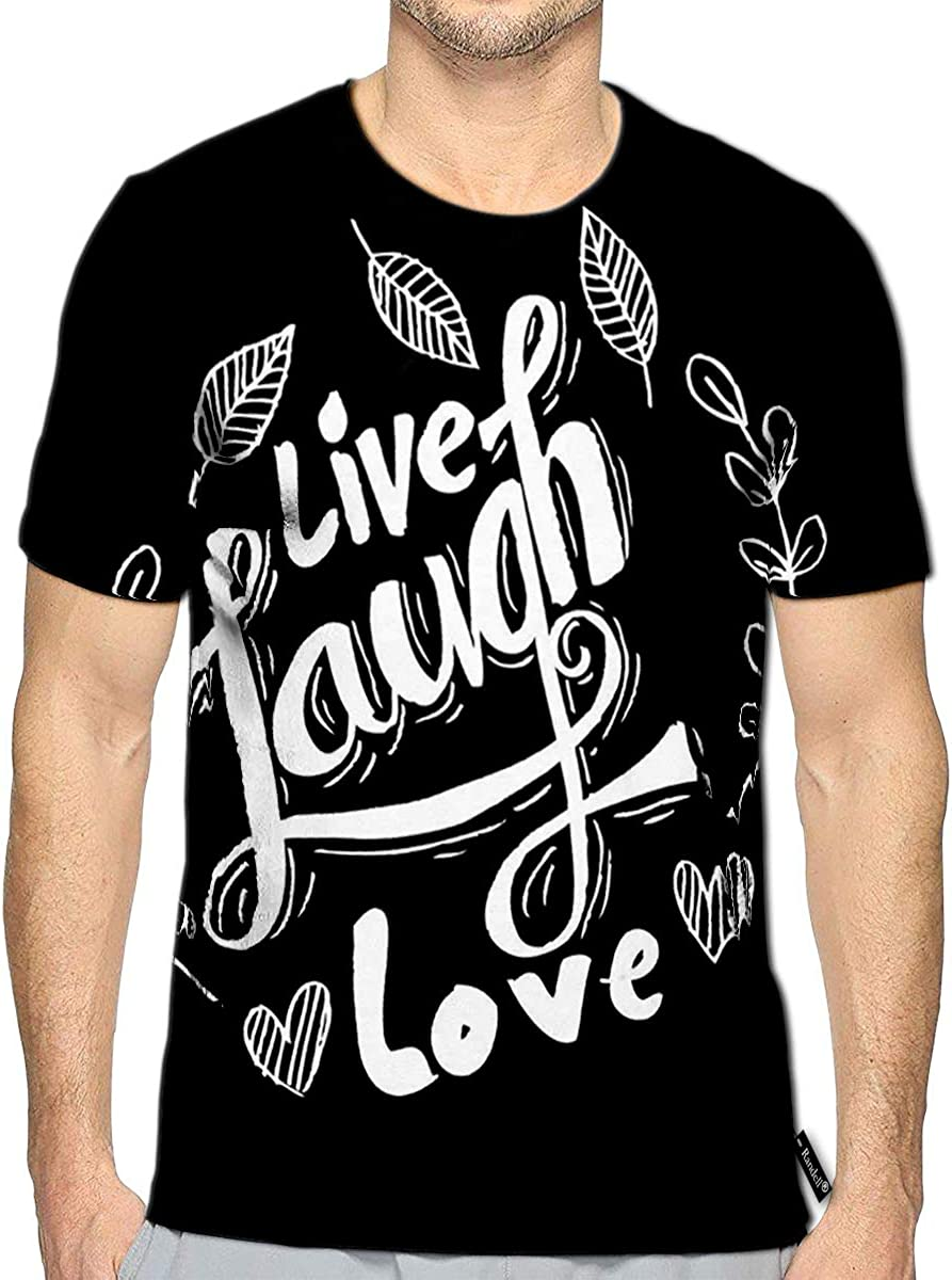 3D Printed T-Shirts Live Laugh Love Hand Lettered Words Short Sleeve Tops Tees