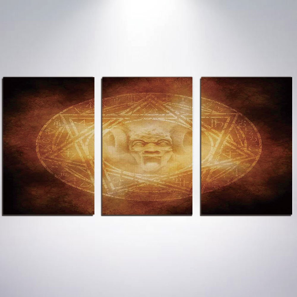 3 Panel Canvas Prints Wall Art for Home Decoration Horror House Decor Print On Canvas Giclee Artwork For Wall DecorDemon Trap Symbol Logo Ceremony Creepy Ritual Fantasy Paranormal Des