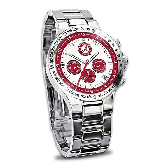 Universidad de Alabama Crimson Tide Cronógrafo de acero inoxidable reloj de coleccionista para hombre por el