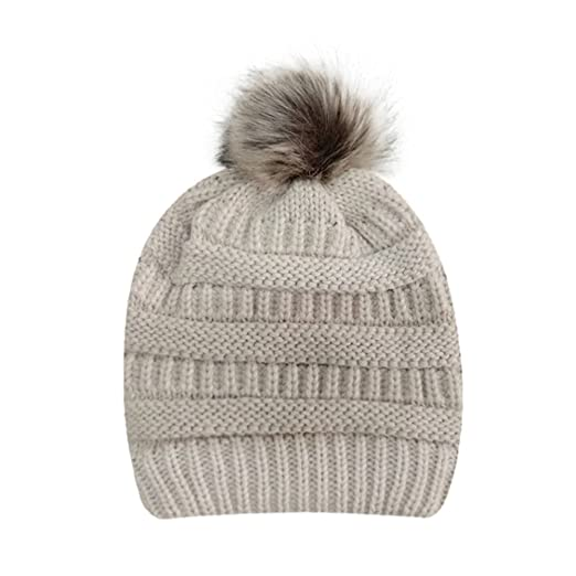Twgone Womens Knit Cap Winter Warm Crochet Knit Faux Fur Pom Pom