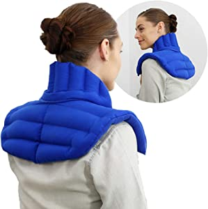 My Heating Pad - Upper Back Neck and Shoulders Heating Pad Microwavable | Large Hot Pack for Pain Relief | Treat Sore Neck, Shoulder Pain, Upper Back Aches, Tensed Muscles, Joints Pain and More (Blue)