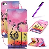 iPod Touch 5 Case,iPod Touch 6 Case,LEECO Fashion Synthetic PU Leather Wallet Type Magnet Design Flip Stand Case Cover for Apple iPod Touch 5 6th Generation + Send 1 Stylus Pen(Bees)