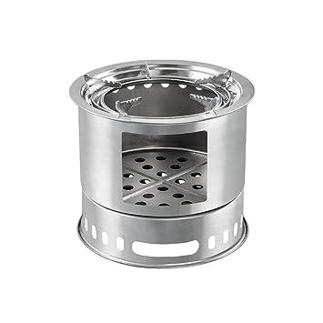 Vogvigo Estufa plegable de acero inoxidable,4+ Estufa de leña compacta de madera compacta