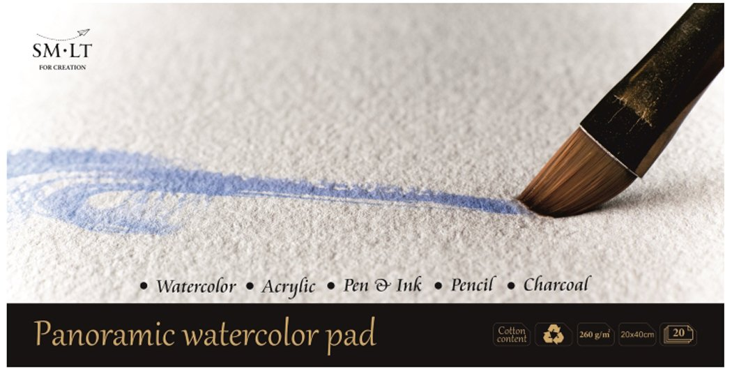 alterungsbestaendig e acidi 260/GSM Bianco 100/% Riciclato Papier con cotone 260 20/fogli Pan English Watercolor Pads Panorama carta per acquerelli SM.LT AS 20/