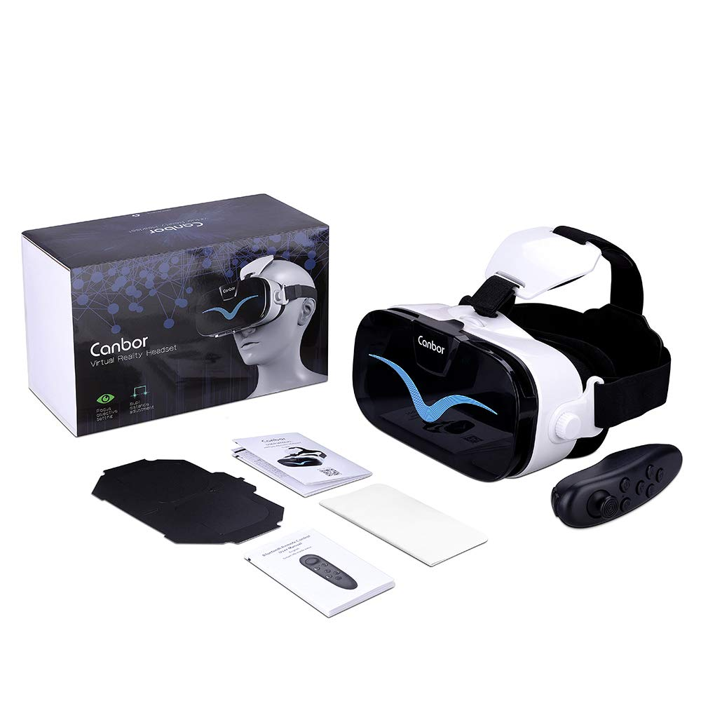 Samsung Sony More Smartphones Canbor VR Headset with Remote Controller Virtual Reality Headset VR Goggles for 3D Movies and Games Compatible with 4.0-6.3 Inches for iPhone