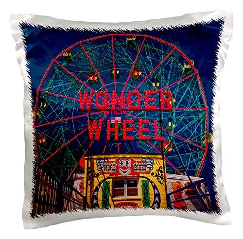 3dRose pc_55991_1 Wonder Wheel Coney Island-Pillow Case, 16 by 16