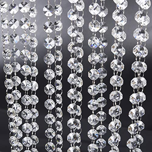 19.6 ft Crystal Beads Chandelier Chain Clear Crystal Glass Beads Sewing Beaded Trim Craft Bead Lamp Chain for The Wedding Home Garland DIY Jewelry Making,and Other DIY Craft Projects (Faceted Bead Garland)