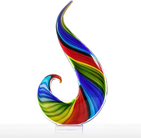 Amazon Com Rainbow Glass Sculpture Hand Blown Glass Art Style Abstract Glass Rainbow Sculpture Figurine Statue Gift Ornamen Home Kitchen