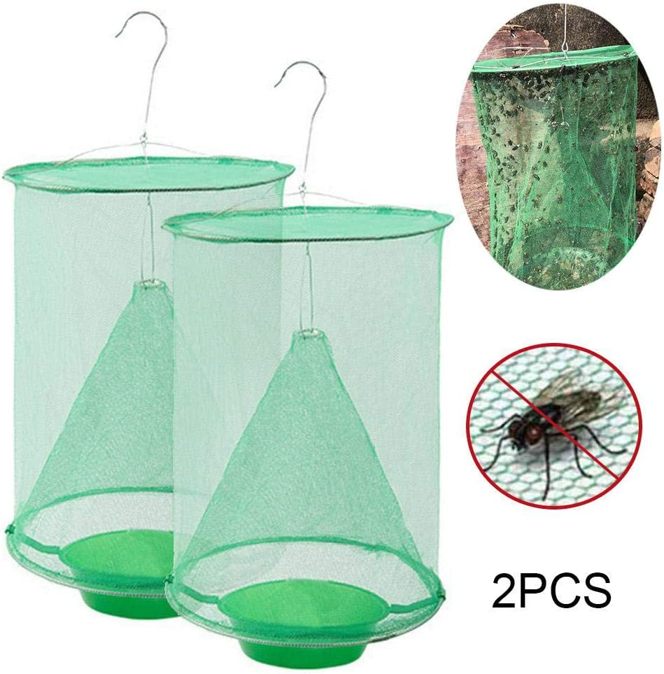 FOONEE Ranch Fly Trap, Most Effective fruit fly trap, Non-Toxic Insect Trap Indoor & Outdoor Food Bait Fly Hanging Net Cage, Best for Family, Parks, Farms, Food Processing Plants and More, 2pcs