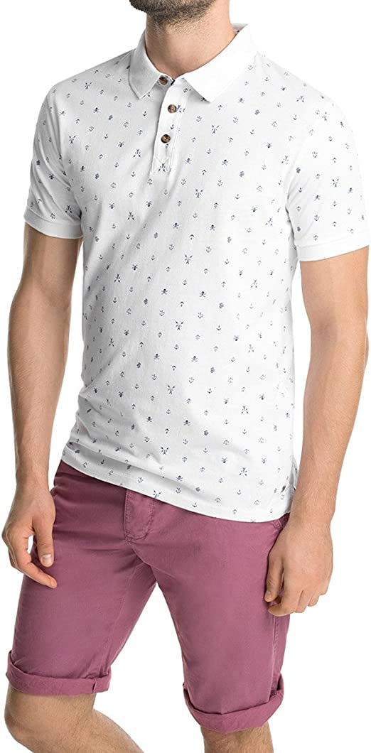 Esprit mit Muster Polo, White 100, X-Small para Hombre: Amazon.es ...