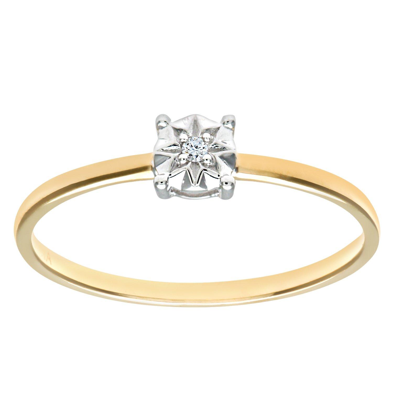 Naava La s 9ct Yellow Gold Illusion Set Diamond Solitare Ring
