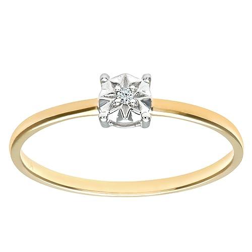Naava Anillo para Mujer de Oro Amarillo 9K con 1 Diamante Talla 8.5