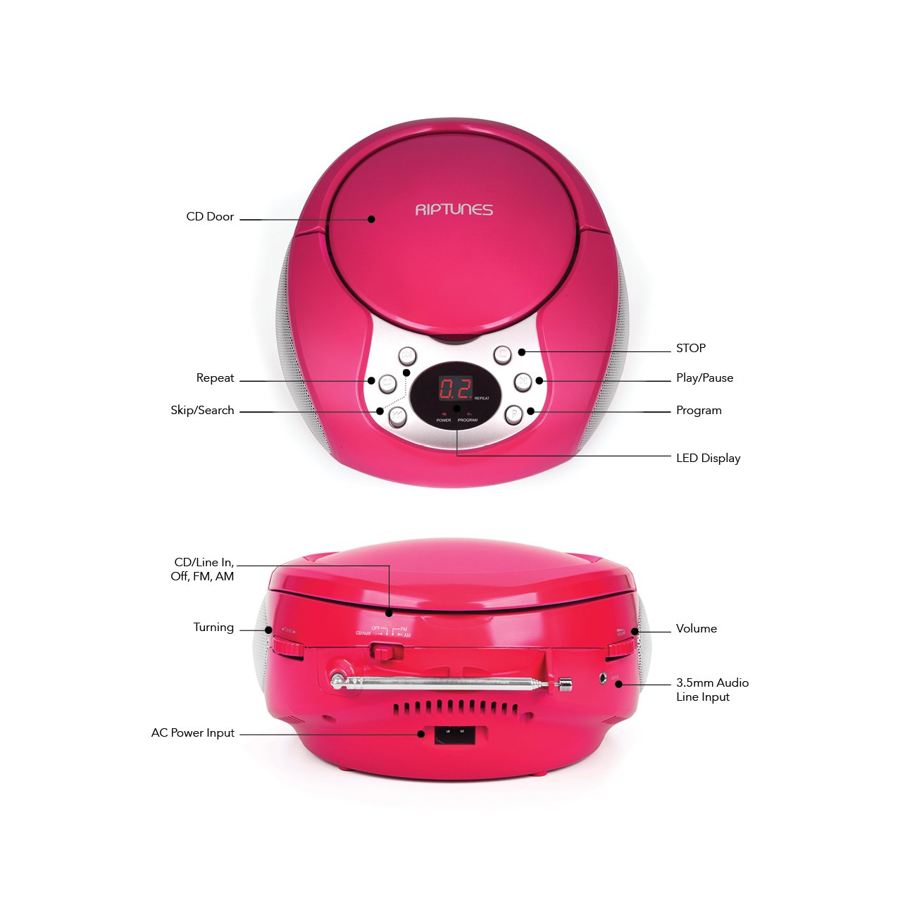 Riptunes Portable CD Player with AM FM Radio Potable radios Boom Box with Aux Line-in, Pink by Riptunes (Image #2)