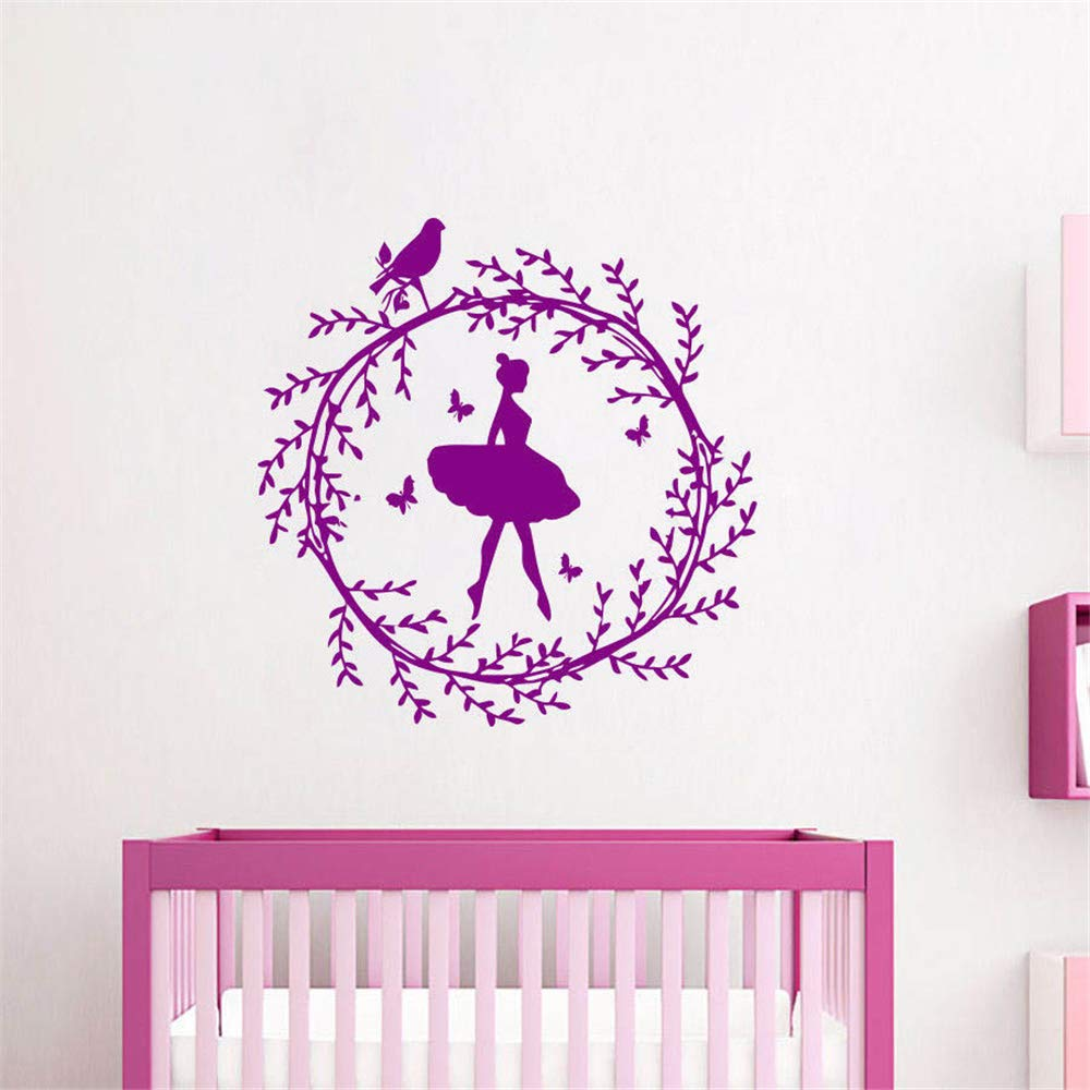 Amazon com pikat wall sticker lettering wall art sticker removable letters quote art ballerina girl wreath on the bird diy kids room simple home decor