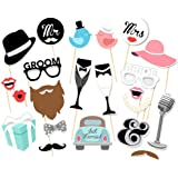 Rzctukltd 22PCS Photo Booth Prop Moustache Wedding Hen Do Party Stag Night Selfie Game