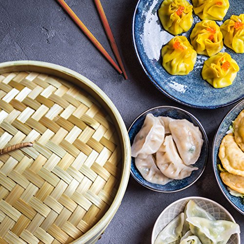 Bamboo Oriental Gyoza Steamer 10 Inch with BONUS two Pairs Chopsticks, Premium Chinese Food Steaming Basket, 2 Tier for Vegetables and More by Sally Chen by Sally Chen (Image #3)