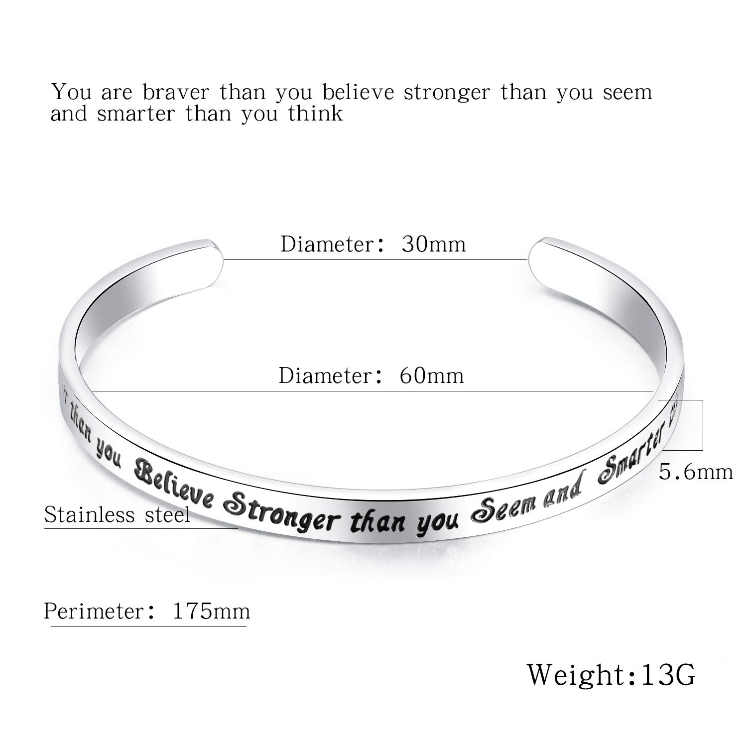 Kendasun Jewelry You are Braver Than You Believe Stronger Than You Seem and Smarter Than You Think Cuff Bangle Bracelet