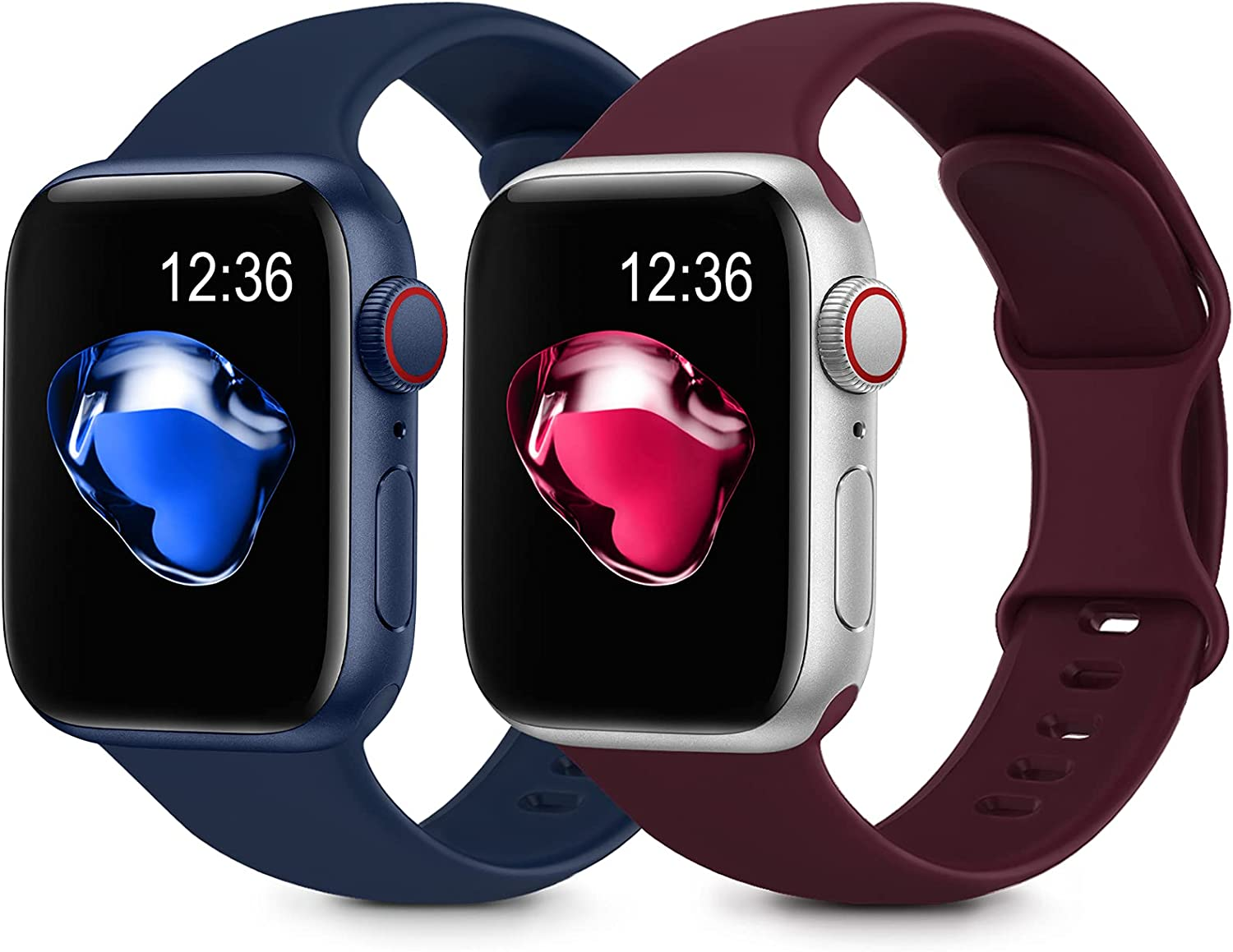 2 Pack Sport Silicone Bands Compatible with Apple Watch Bands 38mm 40mm 42mm 44mm Women Men, Soft Silicone Replacement Strap Band Compatible for iwatch Series 6 SE 5 4 3 2 1