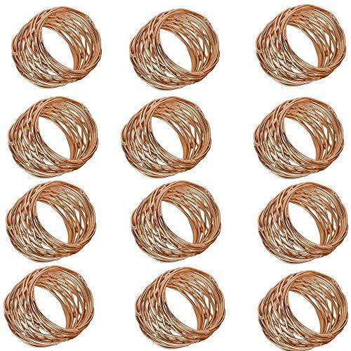 (Handmade Round Mesh Napkin Rings Holder Dinning Table Parties Set of 12 (Copper))