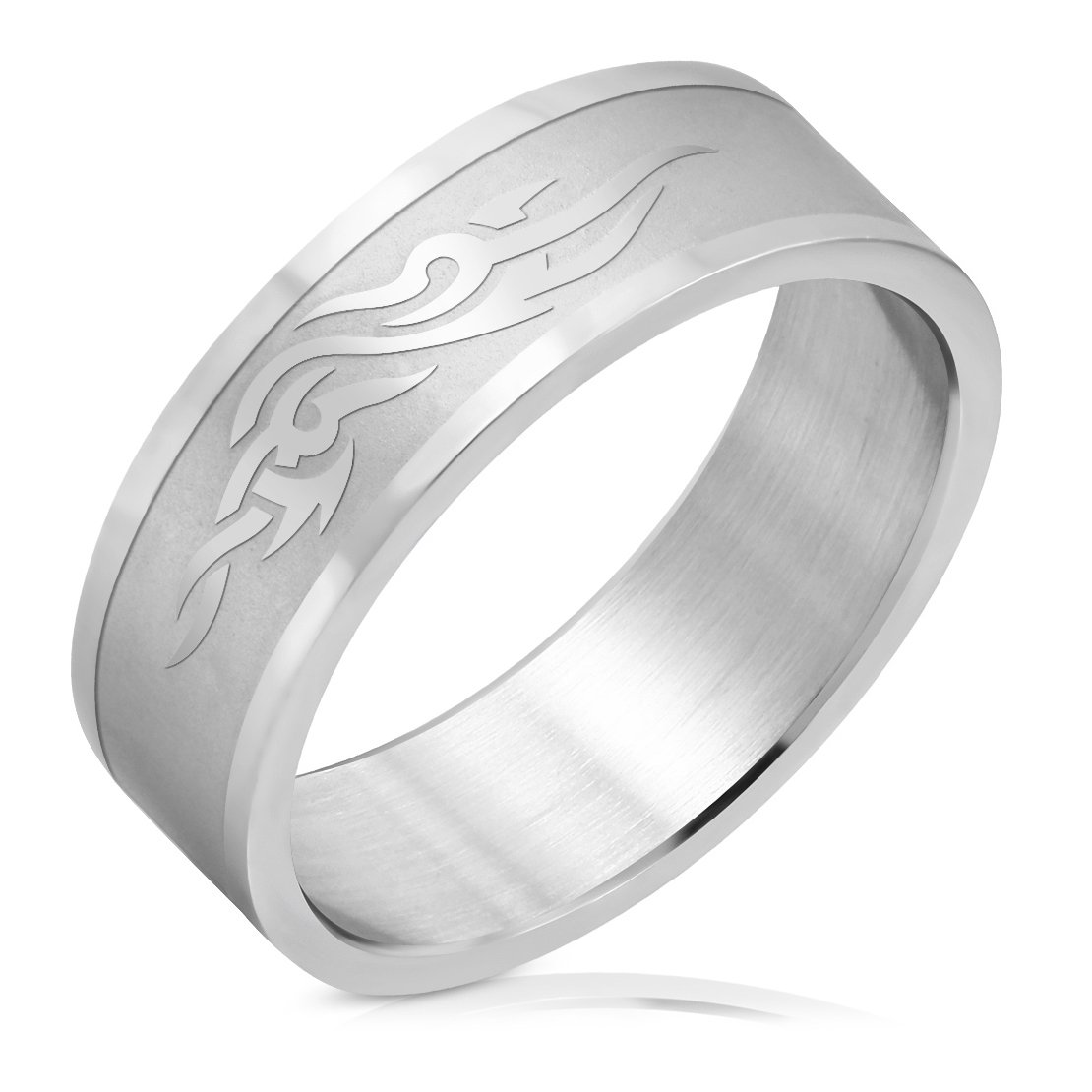 Stainless Steel Matte Finished Tribal Design Flat Band Ring