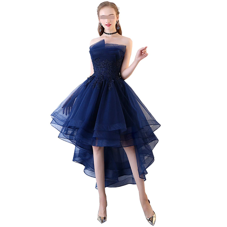 Navy bluee Navy bluee Evening Dresses Short Front Long Back Lace Applique Strapless Vestidos de Festa Formal