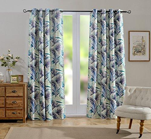 Leaf Print Fashion (MYSKY HOME Palm Leaf Fashion Design Print Thermal Insulated Soft Textured Linen Look Room Darkening Curtains, 52 x 84 Inch, Blue, 1 Panel)