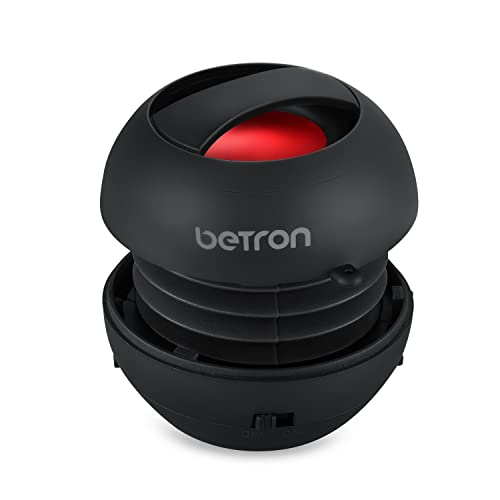 Betron JRS40 Pop Up Portable Mini Travel II Capsule Rechargeable 40mm Speaker For Iphone, iPod, Ipad, Tablets and MP3 Players - Black
