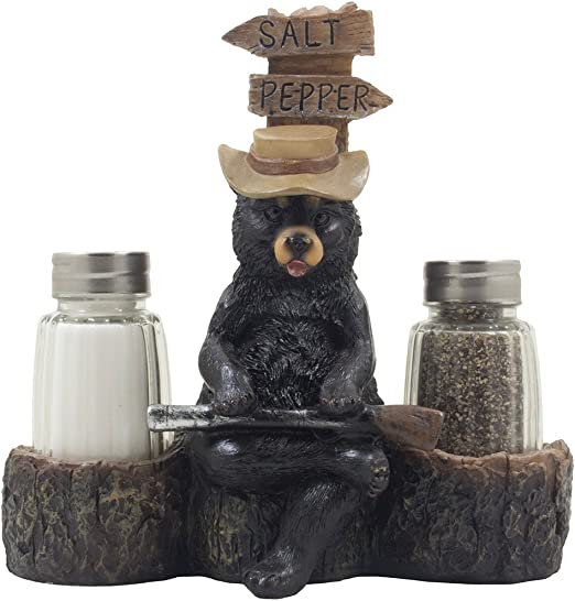 BLACK BEAR WINE HOLDER KITCHEN DECORATION SCULPTURE STATUE