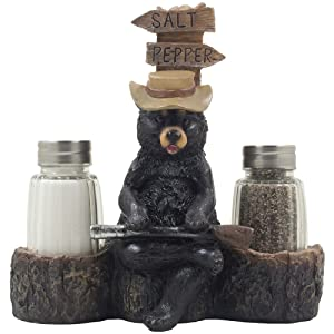 Papa Bear Overseeing Shotgun Wedding Salt and Pepper Shaker Set with Decorative Figurine Display Stand in Rustic, Lodge or Cabin Kitchen Decor or Wedding Table Centerpieces As Unique Wedding Gifts