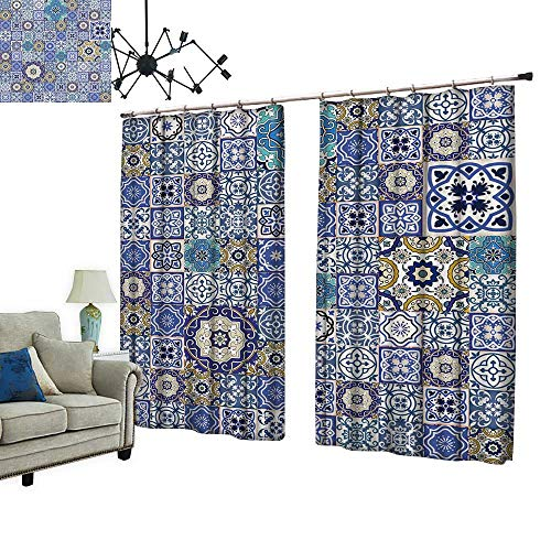 2 Panels Curtain with Hook Mega Gorgeous Seamless Patchwork Pattern from Colorful Moroccan Tiles,Ornaments Used Wallpaper Can Block Sunlight,W84.3 xL72