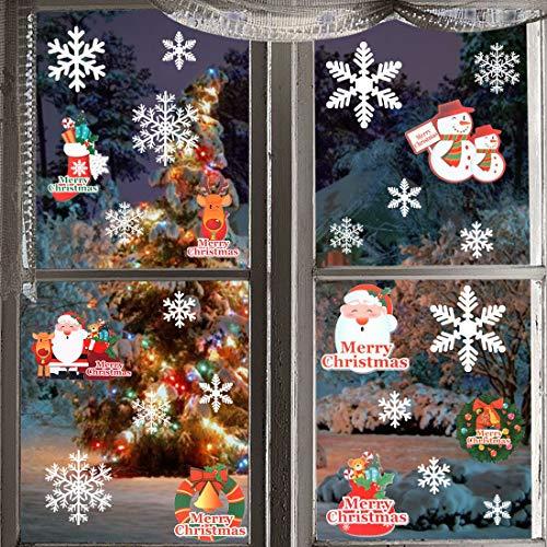 MNBS 116pcs Christmas Snowflake Window Stickers Decorations Xmas Party Santa Claus Snowman Merry Christmas Gel Clings Window Clings Decal Ornaments