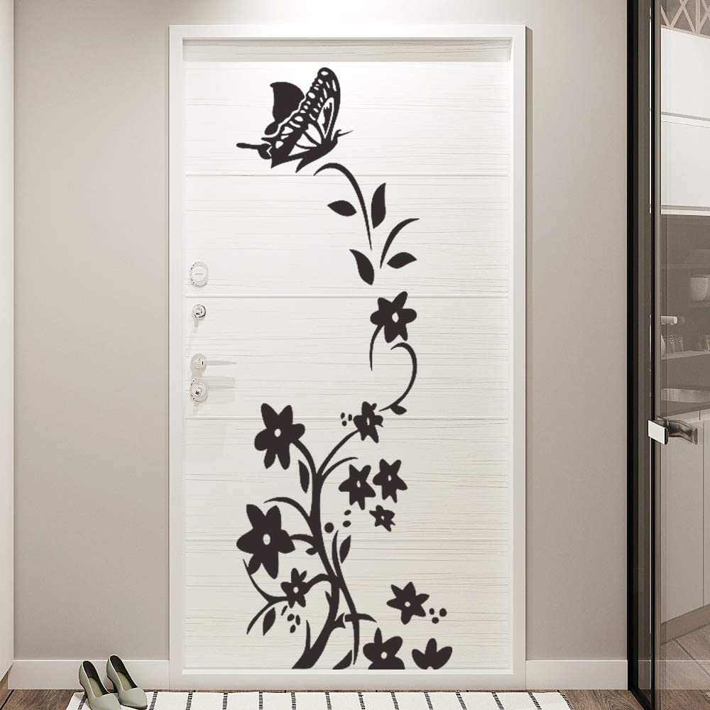 Supzone Flowers Vine Wall Decals Black Flower String Wall Stickers Butterfly Wall Decor Removable Vinyl DIY Home Wall Art Stickers for Bedroom Living Room Sofa Backdrop TV Wall Decoration