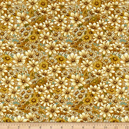 Fabri-Quilt Paintbrush Studio Bee Kind Flowers Fabric, Gold, Fabric By The Yard ()