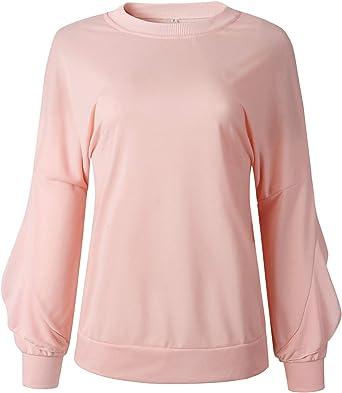Manga Larga Escote Redondo Escote Redondo Bajo de Volante Volantes Algodón Sudadera Sweatshirt Camisa Camiseta Playera T-Shirt Pullover Top Rosa: Amazon.es: Ropa y accesorios