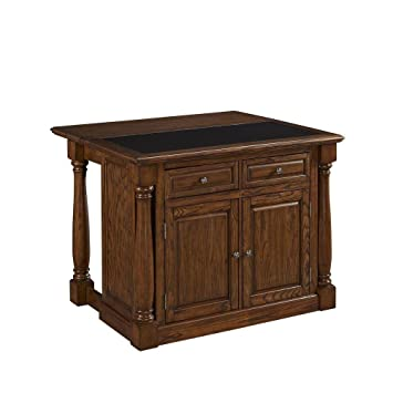 48 u0026quot  w wood kitchen island in oak with granite top amazon com   48   w wood kitchen island in oak with granite top      rh   amazon com