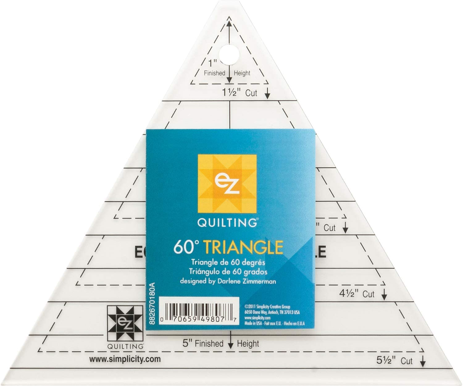 Template for cutting and patchwork Triangle 60° 8 inches