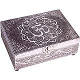 Trouver quelque chose différents en bois en relief–Argenté Finition OM Symbole Tarot Boîte de rangement, multicolore